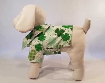 Dog Shirt St Patrick's Day- Green Clovers - Dog Clothes Pet Clothes