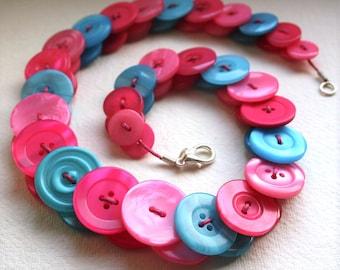 Hot pink, Pale pink and Aquamarine button necklace Button Necklace Button Jewellery Button Jewelry UK Handmade Free UK Shipping
