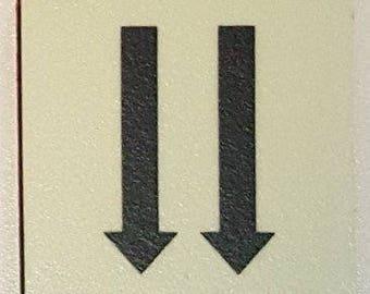"""Photoluminescent Door Identification Letter Two Arrow Down Sign / Glow In The Dark """"Door Number"""" Sign Heavy Duty (Aluminum Sign 1.5 X 1.5)"""