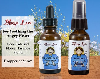 Soothing Anger, Flower Essence Dropper or Spray, Organic, Reiki-Infused Bach and North American Flower Remedy, Soothing the Angry Heart