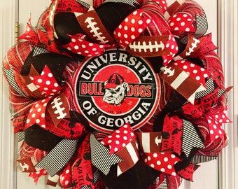UGA wreath, University of Georgia wreath, best UGA wreath, Bulldogs wreath, Georgia wreath, UGA football wreath, Georgia football wreath,