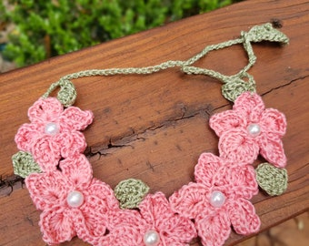 Crochet Flower Bib Necklace with Pearl Accents