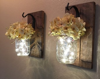 Set of 2 mason jar wall sconces, Hanging lighted wall sconces, Bedroom decor, Bathroom decor, Lighted mason jars on wooden boards