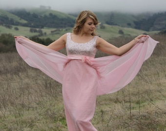 CHARMED 1960's Vintage Maxi Length Evening Gown Silk Chiffon Overlay Pale Pink  and Silver