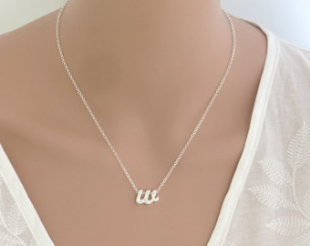 Silver initial lower case necklace , silver personalized necklace , letters necklace , silver letters , personal gift neckace