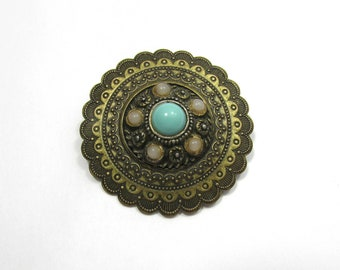 """Vintage Brass Concho Brooch - Turquoise & Pink Glass Cabochons - 1-7/8"""" - 1960s"""