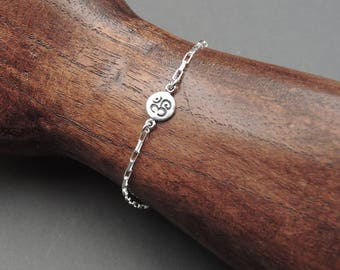 Om Bracelet - Sterling Silver Charm Bracelet, yoga bracelet, ohm bracelet, boho bracelet,  meditation jewelry
