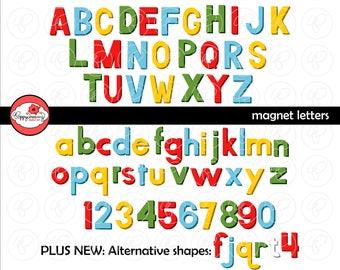 Magnet Letters Alphabet: Clip Art Pack (300 dpi transparent png) Card Making Digital Scrapbook Letters Black & White