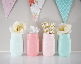 Coral Pink Mint Mason Jars Baby Shower Centerpiece, Baby Shower Decor