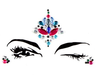 One piece face jewels & gems, stick on body, crystals, bindi stickers, festival rhinestones, sticky jewels, adhesive makeup, glitter, rave