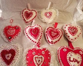 Homemade vintage Valentine ornaments 2