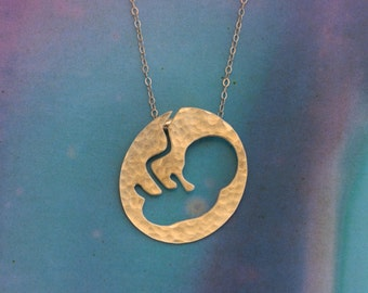 Gold Fetus in a uterus Necklace, Pregnancy Announcement, Gift for mom to be, Midwife, Doula, Infant, Fetus Jewelry, Expecting Mother Gift