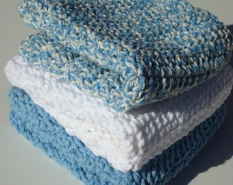 Set of Three Cotton Washcloths in Blue, Bright White, and Denim Twists, Crochet Dishcloths, Dish Cloths, Wash Cloths for the Kitchen or Bath