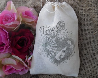 Favor Bags - SET OF 10 Steampunk Love Key 4x6 Muslin Favor Bags Gift Bags or Candy Bags - Item 1350