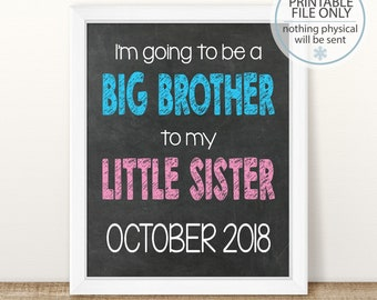 PRINTABLE Big Brother Pregnancy Announcement, Little Sister, Gender Reveal, Baby Number 2, Big Brother Sign, 2nd Baby, 2nd Pregnancy