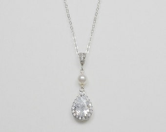 Bridal Cubic Zirconia Crystal Necklace, Swarovski Pearls, Teardrop, Silver Tone Rose Gold, Yellow Gold Tone - Will Ship in 1-3 Business Days