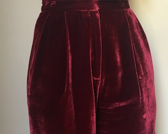 THE REFORMATION Red Velvet Wide Leg Trousers size 2
