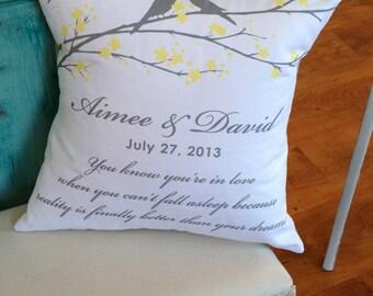 Personalized Lovebirds Wedding Pillow