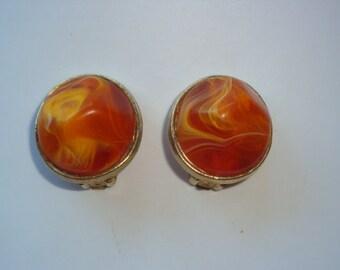 Vintage Signed Kramer Large Marbled Orange Clip Earrings