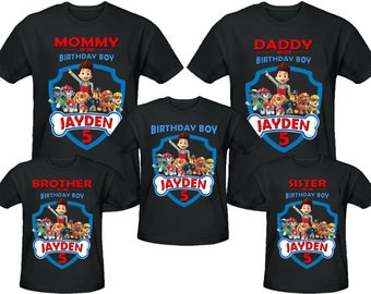 Paw Patrol Birthday Shirt Personalized Name and Age Customized Paw Patrol Family Shirts