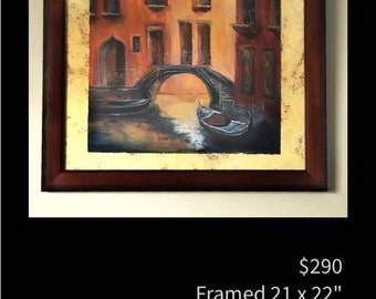 "Framed original acrylic painting ""Venetian Waters"" by artist Pamela Platt 21 x 22"""