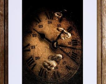 Footprints on clock face - Digital Art Print