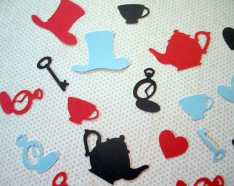 Tea Party Confetti, Mad Hatter, Key, PocketWatch, Teapot, Teacup, Whimsical Table Sprinkles Alice in Wonderland