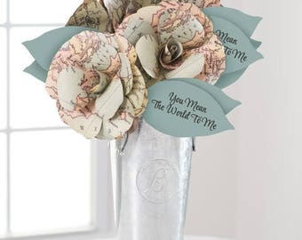 WORLD MAP w blue, Paper Flowers Handmade Paper Roses Arrangement, You Mean the World to Me, Paper Anniversary, Mother's Day, Graduation 2018