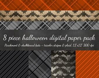 80% OFF SALE Halloween Digital Scrapbook 8 Piece Papers - Parchment Bat Chevron, Blackboard Bats, Tri-Colored Plaid & Stripes - Scrapbooking