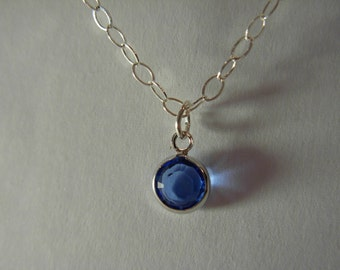Sapphire Blue  glass pendant necklace sterling silver #1155