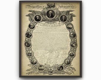 United States Declaration Of Independence Reproduction Wall Art Print - July 4th 1776 American Independence Day Celebration #2