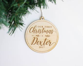 Custom Modern Rustic Our First Christmas as Mr and Mrs Christmas Ornament | Personalized