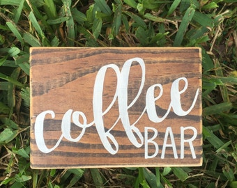Coffee Bar / Coffee Bar Sign / Coffee Sign / Coffee Lover / Coffee Wall Sign / Coffee Art / Kitchen Decor / Hand Painted Sign