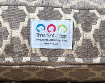 xl Grey Dog Bed -Quatrefoil River Rock Dog Bed - Personalized Chenille Geometric Custom Pillow Cover by Three Spoiled Dogs