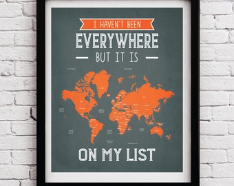 Quote world map etsy world map traveler poster world map quote poster world map quote print traveller gumiabroncs Image collections