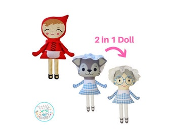 Red Riding Hood Fairytale Sewing Pattern Bundle- Two Patterns, 2in1 Grandma/ Wolf Doll Pattern, Red Riding Hood Doll Pattern, Sewing machine