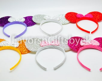 Sparkly Minnie Ears Mickey Ears Minnie Mouse Ears Mickey Mouse Ears Headbands RED ,Purple,Gold,Silver,Fushia,Bows Sparkle Ears