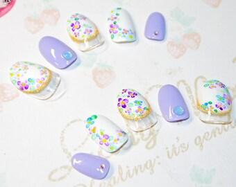 Japanese kawaii nail art false nail, fake nails, flower, watercolor, hydrangea, purple, white, party, cosplay, lolita accessory, fairykei