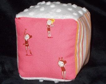 Pink Ballerinas Fabric Block Rattle Toy