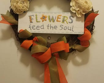 Spring Wreath - Flowers Feed the Soul -  Grapevine Wreath