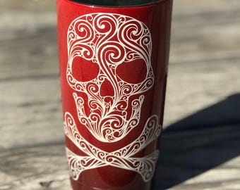 Red and Black Ombre Skull Tumbler
