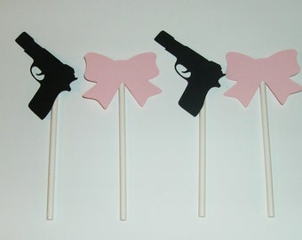 Gender Reveal Cupcake toppers Guns and Bows (223C)