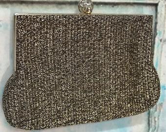 60s Gold Black Lurex Fabric Clutch Handbag