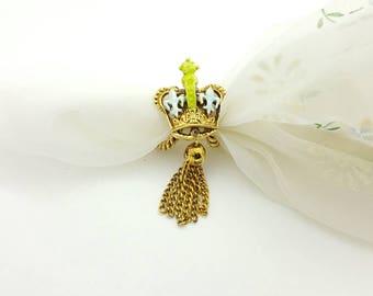 ART Signed  Crown Fleur de Lis Scarf Clip and Brooch Victorian Gold tone