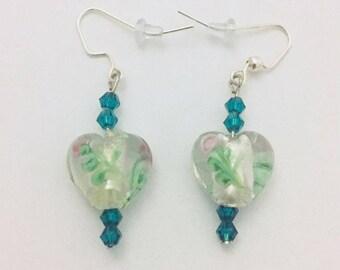 Beaded Earrings, Dangle Earrings, Drop Earrings, White Heart Beaded Earrings, Green Swarovski Crystal Beaded Earrings, Silver Earring Wires