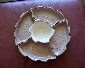 Vintage Lazy Susan Relish Tray Leaf Motif Gold Rimmed