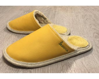 Women slippers, yellow slippers, leather slippers, wool slippers, warm slippers, closed toe slippers, slippers for women, women house shoes