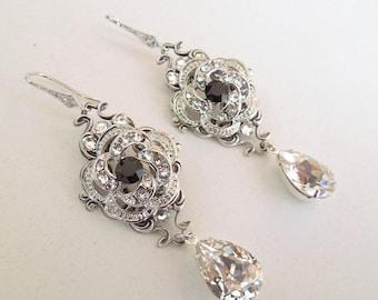 Bridal Earrings Swarovski Crystal Wedding Earrings Teardrop Chandelier Dangle Earrings Vintage Style Bridal Jewelry Dangle Earrings ROSELANI