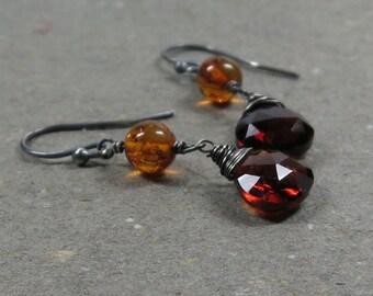 Hessonite Garnet Earrings Amber January Birthstone Oxidized Sterling Silver Gift for Wife
