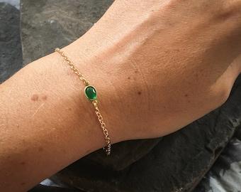 Minimalist Bracelet, Minimalist Gold Bracelet, Green Crystal Bracelet, Minimalist Jewelry, Mother in Law Gift, Medieval Dress, Layering
